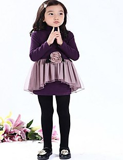 Girl's Solid Dress Spring Fall Long Sleeve Black Purple