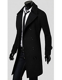 Men's Work Casual/Daily Sophisticated Fall Winter Coat,Solid Shirt Collar Long Sleeve Long Cotton Polyester
