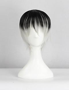 Cosplay Pruiken Tokyo Ghoul Ken Kaneki Zwart / Grijs Kort Anime Cosplay Pruiken 40 CM Hittebestendige vezel Mannelijk