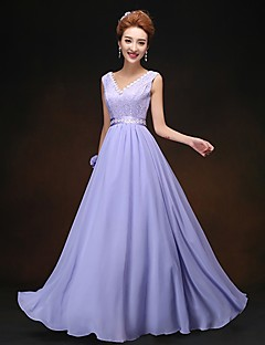 Sheath / Column V-neck Floor Length Chiffon Bridesmaid Dress with Lace by Yaying