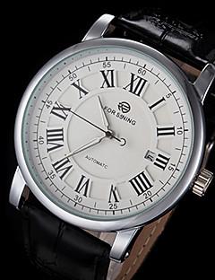 FORSINING Herren Armbanduhr Mechanische Uhr Kalender Automatikaufzug Leder Band Luxuriös Schwarz
