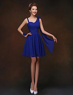 cheap Imperial Blue-Sheath / Column Spaghetti Straps Short / Mini Chiffon Bridesmaid Dress with Flower(s) by LAN TING BRIDE®