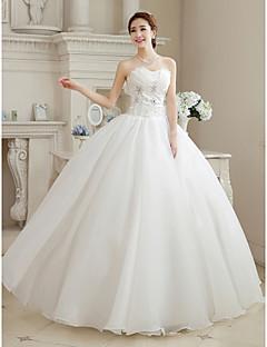 billiga Balbrudklänningar-Balklänning Hjärtformad urringning Golvlång Organza Bröllopsklänningar tillverkade med Bård / Blomma av LAN TING Express