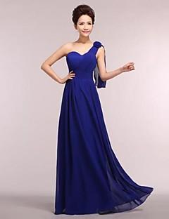 Χαμηλού Κόστους Μακριά Φορέματα Παρανύμφων-Γραμμή Α Ένας Ώμος Μακρύ Σιφόν Φόρεμα Παρανύμφων με με LAN TING Express
