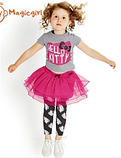 Girl's Summer Short Sleeve Kitty Printing T-shirts + Red Lace Skirt Leggings Twinsets(Cotton + Net)