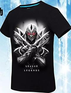 """billige Anime Kostymer-Inspirert av LOL Yuna video Spill  """"Cosplay-kostymer"""" Cosplay T-skjorte Trykt mønster Geometrisk Svart Kort Erme T-skjorte"""