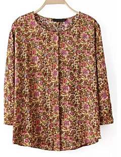 Women's Casual/Daily Simple Spring / Summer Shirt,Print Round Neck ¾ Sleeve Multi-color Polyester Thin