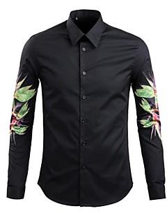 男性用 プリント カジュアル シャツ,長袖 コットン ブラック