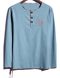 Print Muška Majica s rukavima Ležerne prilike / Plus veličine,Lan Dugih rukava-Plava