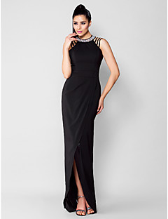cheap Special Occasion Dresses-Sheath / Column Jewel Neck Asymmetrical Chiffon Cocktail Party / Formal Evening / Black Tie Gala / Holiday Dress with Beading Split Front