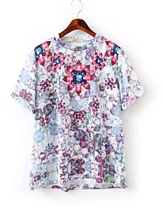 Women's Fashion Sexy/Ruby Print Micro-elastic Short Sleeve Regular T-shirt (Cotton)