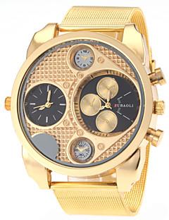 JUBAOLI Heren Militair horloge Modieus horloge Kwarts Dubbele tijdzones Roestvrij staal Band Wit Zwart