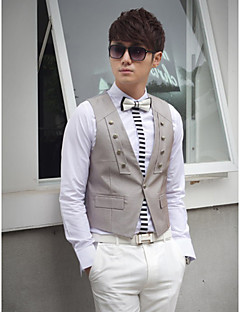 Gray Solid Cotton Tailored Fit Suit Vest Single Breasted One-buttons