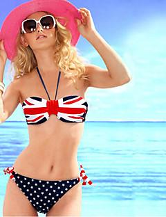 billige Bikinier og damemote 2017-Dame Bikini - Blandet Farge, Snørebinding Nasjonalflagg
