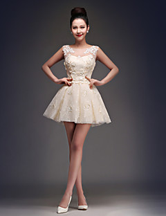 Princess Fit & Flare Illusion Neckline Short / Mini Satin Tulle Cocktail Party Homecoming Dress with Appliques Lace by CHQY