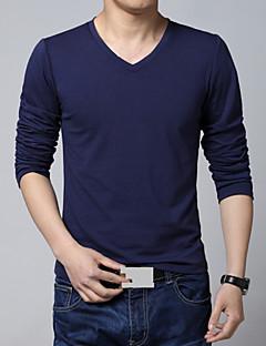 Obično Muška Majica s rukavima Ležerne prilike / Plus veličine,Pamuk / Poliester Dugih rukava-Crna / Plava / Bijela / Siva