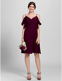 cheap Short Bridesmaid Dresses-A-Line Spaghetti Straps Knee Length Chiffon Bridesmaid Dress with Criss Cross by LAN TING BRIDE®