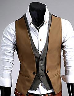 お買い得  メンズファッション&ウェア-男性用 ベスト - ビジネス スリム ソリッド