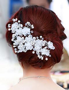 Χαμηλού Κόστους Φορέματα και αξεσουάρ για το χορό αποφοίτησης-Μαργαριτάρι / Κρύσταλλο / Ύφασμα Τιάρες / Λουλούδια με 1pc / 1 Γάμου / Πάρτι / Βράδυ Headpiece / Κράμα