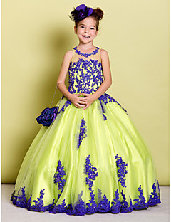 tanie Ubiór ślubny dla dzieci-Balowa Sięgająca podłoża Sukienka dla dziewczynki z kwiatami - Tiul Bez rękawów Zaokrąglony z Koraliki Haft nakładany przez LAN TING