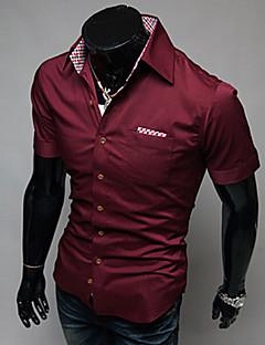お買い得  メンズファッション&ウェア-男性用 シャツ レギュラーカラー スリム ソリッド コットン