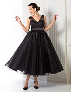 billiga Balklänningar-A-linje V-hals Telång Tyll Cocktailfest / Bal / Formell kväll Klänning med Bälte / band av TS Couture®