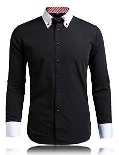 billige Herremote og klær-Menn Langermet Skjorte Bomullsblanding Fritid / Arbeid / Formelt / Plusstørrelse Rutet og skotskrutet / Ensfarget