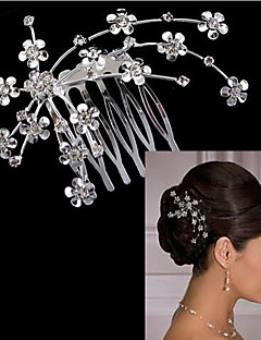 Women's Cubic Zirconia Silver Plated Alloy Hair Stick,Cute Party All Seasons White