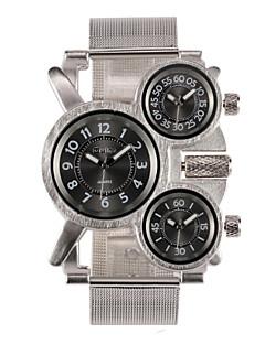 Oulm 男性用 軍用腕時計 リストウォッチ クォーツ 日本産クォーツ 3タイムゾーン ステンレス バンド シルバー