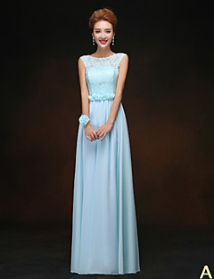 A-Line High Neck Jewel Neck Strapless One Shoulder V-neck Floor Length Chiffon Bridesmaid Dress with Flower(s) Sash / Ribbon Pleats by