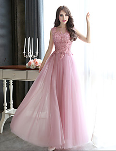 Sheath / Column Bateau Neck Floor Length Tulle Formal Evening Black Tie Gala Dress with Beading Appliques by CHQY