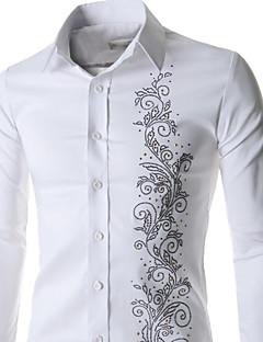 billige Herremote og klær-Menn Langermet Skjorte Akryl/Bomullsblanding/Lycra Fritid/Arbeid/Formelt Ensfarget