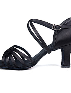 cheap -Women's Latin Shoes / Ballroom Shoes Satin / Silk Sandal Indoor / Professional Buckle Customized Heel Customizable Dance Shoes Black