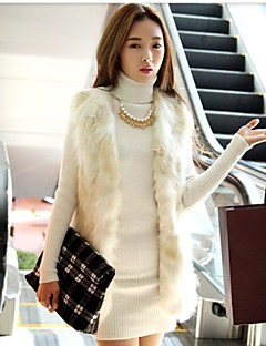 Women's Going out Fashion Winter Spring Fall Vest,Solid Sleeveless Faux Fur