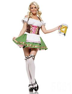 billige Voksenkostymer-Stuepike Kostumer Oktoberfest Cosplay Kostumer Party-kostyme Dame Halloween Karneval Oktoberfest Festival / høytid Drakter Grønn Lapper