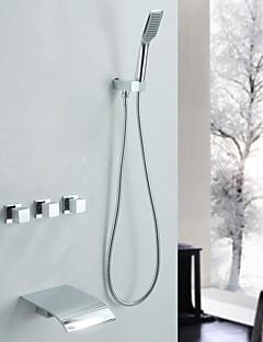 現代風 バスタブとシャワー 滝状吐水タイプ ハンドシャワーは含まれている with  セラミックバルブ 3つのハンドル三穴 for  クロム , シャワー水栓 浴槽用水栓