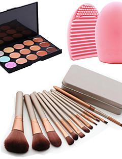 billige Sminkebørstesett-12stk. kosmetiske makeup verktøy øyenskygge pulver rødme foundation børste sett boksen + 15farges concealer + 1stk. børsterenseverktøy