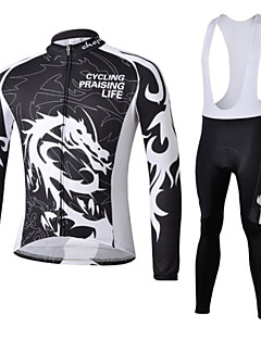 billige Sett med sykkeltrøyer og shorts/bukser-Herre Langermet Sykkeljersey med bib-tights Sykkel Klessett, Fort Tørring, Ultraviolet Motstandsdyktig, Pustende, 3D Pute