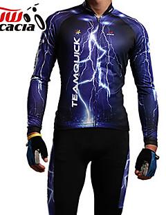 billige Sykkelklær-Acacia Langermet Sykkeljersey med tights - Blå Sykkel Jersey Klessett, Anatomisk design, Pustende
