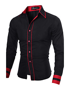 Men's Daily Work Plus Size Casual Spring Fall Shirt,Color Block Classic Collar Long Sleeves Cotton Polyester