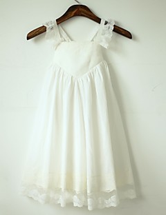 cheap Communion Dresses-A-Line Tea Length Flower Girl Dress - Cotton Lace Sleeveless Straps with Pleats by LAN TING Express