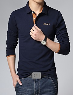 Men's Fashion Casual Daily Letter Logo Long Sleeve Polo Shirt