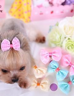 billiga Hundkläder-Katt Hund Håraccessoarer Rosetter Hundkläder Gul Blå Rosa Terylen Kostym För husdjur Cosplay Bröllop