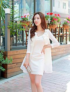 Damen Solide Trenchcoat,Herbst Rundhalsausschnitt Langarm Weiß Mittel Polyester / Elasthan
