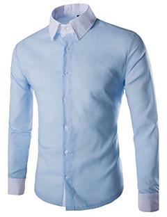 Bomull Blå Rosa Hvit Sort Langermet,Skjortekrage Skjorte Ensfarget Enkel Fritid/hverdag Herre