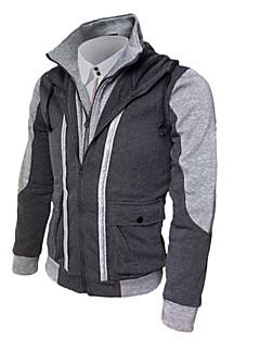 billige Herremote og klær-Herre Store størrelser Sport Grunnleggende Langermet Tynn Hoodie Jacket Fargeblokk