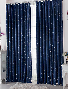 billige Mørkleggingsgardiner-Stanglomme Propp Topp Fane Top Dobbelt Plissert To paneler Window Treatment Moderne, Trykk Polkadotter Stue Polyester Materiale Blackout