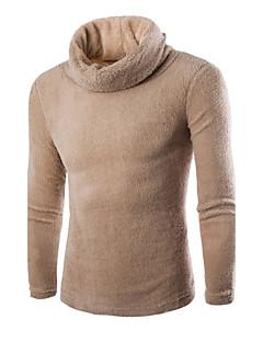 tanie Męskie swetry i swetry rozpinane-Męskie Jendolity kolor Pulower Codzienny Długi rękaw Zima Wiosna Jesień Poliester Spandeks
