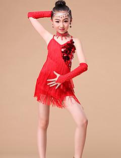 子供用ダンスウェア セット 子供用 演出 プロミックス クリスタル/ラインストーン / スパンコール / タッセル 4個 スリーブ / ドレス / Neckwear S:54 cm / M:56 cm / L:58 cm / XL:60 cm