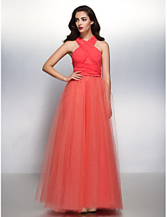 cheap Convertible Dresses-Bridesmaid Dress Lanting Bride® Floor-length Chiffon / Tulle Convertible Dress - A-line V-neck with